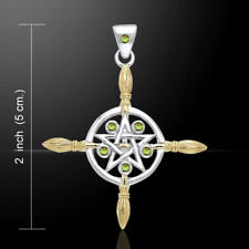 Pagan Wiccan Broom Pentacle Witch .925 Sterling Silver Pendant by Peter Stone