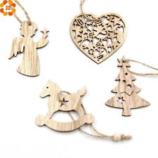 Christmas Tree Wooden Hanging Pendant Ornaments 10Pcs DIY Xmas Decoration Party