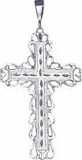 Huge Heavy Sterling Silver Cross without Jesus Pendant Necklace 4.5 Inch 19 Gram