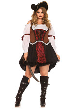 Sexy Women's Plus Size Pirate Wench Costume Renaissance Fancy Halloween Dress