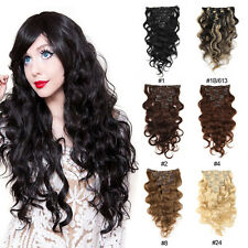 Full Head 70g-120g Real Clip in Hair Body Wave 100% Remy Human Hair Extensions