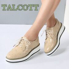 Women Platform Oxfords Brogue Flats Shoes Patent Leather Lace Up Pointed Toe