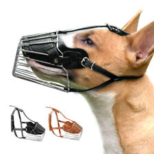 Metal Wire Basket Dog Muzzle Adjustable Padded Bark Bite Chew Control Pit Bull