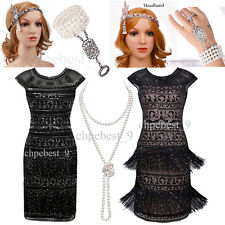 Sequin Beads Tassels 1920s Flapper Dress Vintage Great Gatsby Party Prom Dresses