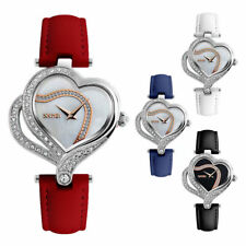 Double Heart Shape Case Shell Dial Genuine Leather Strap Casual Quartz Watch