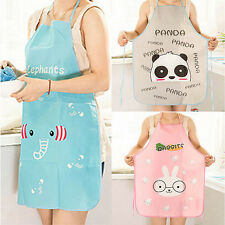 HOT!!! Women Cute Cartoon Waterproof Apron Kitchen Restaurant Cooking Bib Aprons