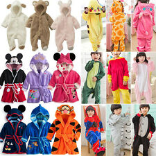 Unisex Kids Winter Warm Kigurumi Pajamas Animal Cosplay Sleepwear Home Bathrobe
