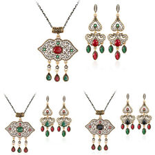 Women New Fashion Wedding Party Crystal Resin Necklace Earrings Jewelry Set 517