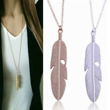 Women Feather Pendant Long Chain Necklace Sweater Statement Vintage Jewelry ESI