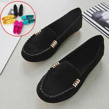 Womens Casual Soft Ballerina Moccasin Suede Slip On Flat Loafers Ladies Shoes
