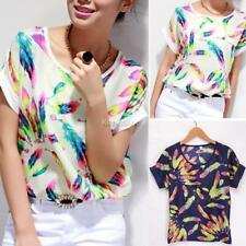 Women O-Neck Short Sleeve Chiffon Batwing-Sleeve Casual T-shirt Loose Top Blouse