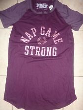 "VICTORIAS SECRET PINK ""PINK"" ""NAP GAME STRONG"" SCOOPNECK SLEEP TEESHIRT NWT"