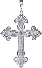 Huge Heavy Sterling Silver Cross without Jesus Pendant Necklace 50+ Grams