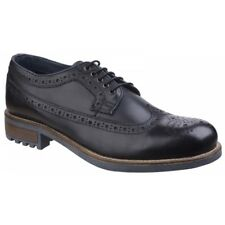 Cotswold POPLAR Mens Leather High Grip Smart Brogues Derby Lace Up Shoes Black