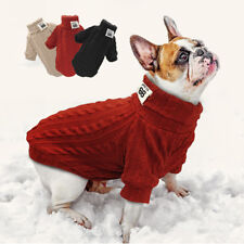 Chihuahua POLO Neck Dog Sweater Winter Warm Knitted Jumper Pet Puppy Cat Clothes