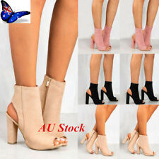 AU Womens Ladies Chunky Block High Heel Sandals Open Toe Ankle Boots Zip Shoes