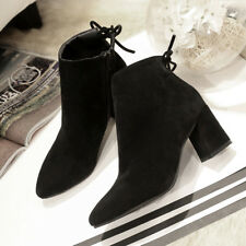 Lucyever  Faux Suede Leather Woman Square High Heels Ankle Boots choose sz/clr