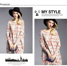 Long Coat Batwing Sleeve Print Women's Sweaters Clothes Pullovers choose sz clr