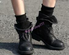 Womens Ankle Boot Retro Sheep Leather Punk Roma Motocycle Lace-up Combat Boot