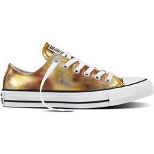 Converse Chuck Taylor All Star Ox Silver/Gold Textile Trainers Shoes