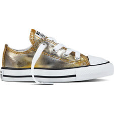 Converse Chuck Taylor All Star Ox Silver/Gold Textile Baby Trainers Shoes