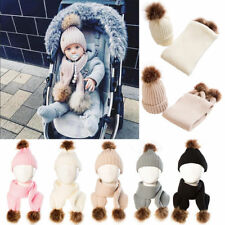Children Baby Girl Boy Fur Pom Bobble Ball Warm Winter Wool Knit Beanie Hat Cap