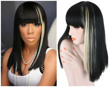Fashion Long Straight Women Wigs Full Bangs Black Mix Blonde Synthetic Hair Wigs