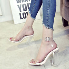 Women  Fashion Transparent High Heels Ladies Thick Sandals Nude Shoes Size 36-40