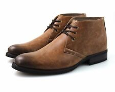 Mens Tan Brown Chukka Desert Boots Faux Leather Ankle Winter Lace Up All Sizes