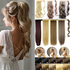 """Thick Clip in Natural Wrap Around Ponytail Hair Extensions 24""""Straight & 18""""Wavy"""