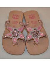Lelli Kelly Girls Leather Toe Post Sandals - Pink With gems LK 8861
