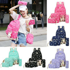 New Women Teen Girls Canvas Rabbit School Backpack Handbag Shoulder Bag 5Pcs/set