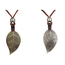 Statement Necklace Genius Leather Rope with Alloy Carved Large Leaf Pendant