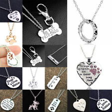 Family Love Heart Pendant Dog Cat Paws Pet Charm Chain Necklace Jewellery Friend