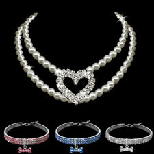 Bling Pearls/Rhinestones Dog Necklace Collar Crystal Pet Puppy Accessory Bichon
