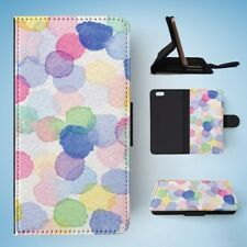 WATERCOLOUR POLKA DOTS PATTERN FLIP WALLET CASE COVER FOR IPHONE 6 / 6S