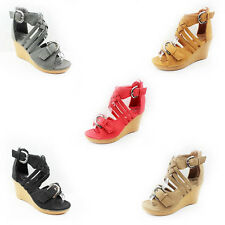 WOMEN'S LADIES STRAPPY BUCKLE PLATFORM HIGH WEDGE HEEL ANKLE SANDALS SHOES 3-9