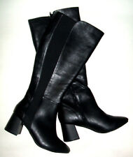 NEW LOOK SIZE 5 38 BLACK CURVE FAUX LEATHER LOW MID HEEL KNEE HIGH BOOTS NEW