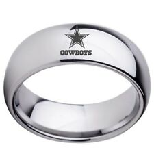 Dallas Cowboys Ring Band Tungsten High Polished Domed Silver  8 MM  Comfort Fit
