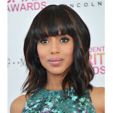 Short Wavy Women Wigs Natural Black Mixed Brown Curly Synthetic Wigs With Bangs