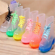 Women Clear Jelly Rain Shoes Martin Rubber Ankle Flat Rain Combat Boot Wellies