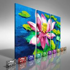 Water Lily Floral Flower Treble Canvas Print Large Picture Wall Print
