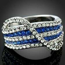 Ladies Blue White Stripe Rhinestone Cocktail Party Finger Ring Austrian Crystal
