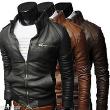 CHIC Mens Biker Bomber Style Motorcycle Jacket Slim Fitting Leather Coat Outwear