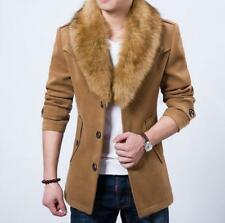 Mens Coat Fur Collar Slim Fit Wool Casual Warnm Detachable Jacket Trench Coat
