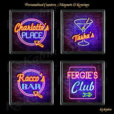 Personalised Neon Style Sign Cocktail Drinks Coaster Birthday Christmas Gift