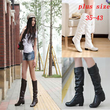 Women's Mid Calf Knee High Round Toe Slouch Comfort Casual Low Boot Pu Shoes