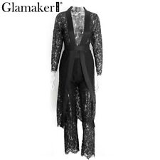 Women Elegant Overall Sexy Black Lace Jumpsuit Romper Summer Casual Pants Suit