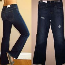 $198 Seven 7 For All Mankind A-Pocket Petite Dark with Destroy Flare Jeans 25-29