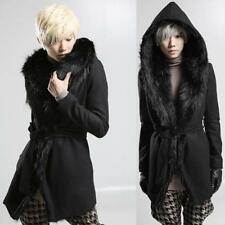 Mens Fur Collar Warm Jacket Slim Fit Long Hooded Trench Coat Thick Belt Coat Hot